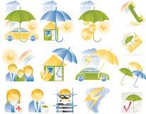 Iconos detallados del seguro del vector stock de ilustración