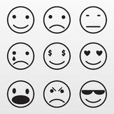 Iconos determinados de Gray Emotion aislados en fondo Picto plano moderno Imagenes de archivo