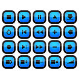 Iconos determinados de la música del medios botón del control stock de ilustración