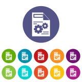 Iconos determinados del ajuste del web ilustración del vector