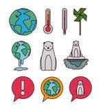 Iconos determinados del cambio de clima ilustración del vector