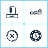 Iconos determinados del casino del ejemplo del vector Elementos del interruptor intermitente del triunfo, de la ruleta y del icon libre illustration