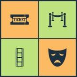 Iconos determinados del cine del ejemplo del vector Elementos del boleto, cerca con el icono temporario de la alfombra, de las má stock de ilustración