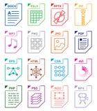 Iconos determinados del formato de archivo Foto de archivo libre de regalías