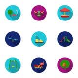 Iconos determinados del jardín del juego en estilo plano Colección grande de ejemplo de la acción del símbolo del vector del jard Fotos de archivo libres de regalías