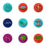 Iconos determinados del jardín del juego en estilo plano Colección grande de ejemplo de la acción del símbolo del vector del jard Imágenes de archivo libres de regalías