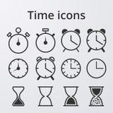 Iconos determinados del reloj común del vector Foto de archivo libre de regalías