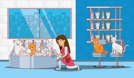 Iconos determinados del servicio veterinario ilustración del vector