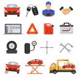 Iconos determinados del vector del servicio del coche Fotografía de archivo