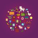 Iconos determinados del vector, fondo púrpura Fotos de archivo