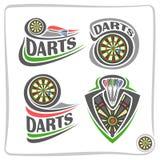 Iconos determinados del vector para el juego de los dardos stock de ilustración