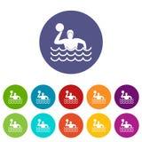 Iconos determinados del water polo Imagen de archivo libre de regalías
