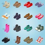 Iconos determinados del zapato, estilo isométrico 3d ilustración del vector