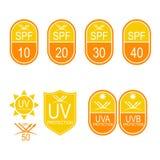 Iconos determinados SPF del vector ilustración del vector