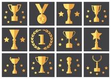 Iconos determinados taza y premio amarillos en fondo gris Vector libre illustration