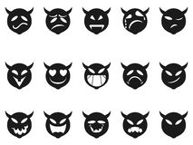 Iconos diabólicos del smiley de las expresiones Foto de archivo libre de regalías