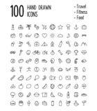 100 iconos dibujados mano Imagen de archivo libre de regalías