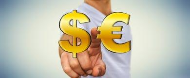 Iconos dibujados mano conmovedora del dólar y del euro del hombre de negocios Fotos de archivo