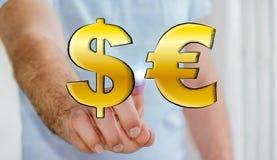Iconos dibujados mano conmovedora del dólar y del euro del hombre de negocios Imagen de archivo