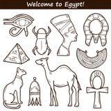 Iconos dibujados mano de Egipto Foto de archivo libre de regalías