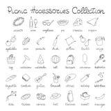 Iconos dibujados mano de la comida campestre del garabato fijados Imagenes de archivo