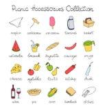 Iconos dibujados mano de la comida campestre del garabato fijados Fotografía de archivo