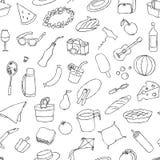 Iconos dibujados mano de la comida campestre del garabato fijados Imágenes de archivo libres de regalías