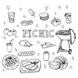 Iconos dibujados mano de la comida campestre del garabato fijados Foto de archivo libre de regalías