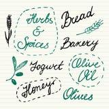 Iconos dibujados mano de la comida fijados Foto de archivo