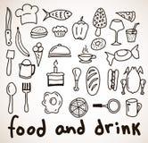 Iconos dibujados mano de la comida y de la bebida stock de ilustración