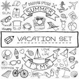 Iconos dibujados mano de las vacaciones fijados Imagenes de archivo