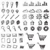 Iconos dibujados mano del garabato Imagen de archivo