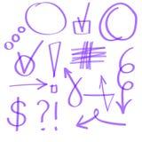Iconos dibujados mano del Highlighter Sistema del vector púrpura Imagen de archivo libre de regalías