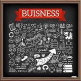 Iconos dibujados mano del negocio fijados ilustración del vector