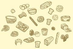 Iconos dibujados mano del pan del vector fijados Foto de archivo libre de regalías