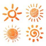 Iconos dibujados mano del sol Fotos de archivo
