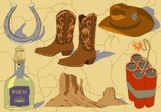 Iconos dibujados mano del vaquero del vector ilustración del vector