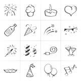 Iconos dibujados mano del vector de la celebración Ilustración del Vector