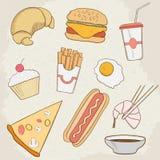 Iconos dibujados mano del vector de la comida y de la bebida Fotografía de archivo libre de regalías