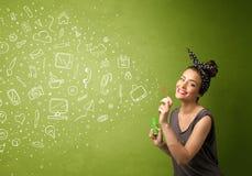 Iconos dibujados mano que soplan y símbolos de la muchacha linda medios Fotos de archivo libres de regalías