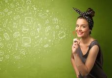 Iconos dibujados mano que soplan y símbolos de la muchacha linda medios Imágenes de archivo libres de regalías