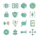 Iconos digitales de la moneda de Bitcoin stock de ilustración