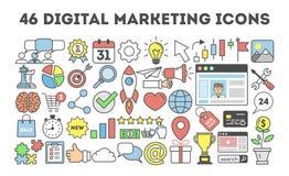 46 iconos digitales del márketing Imagen de archivo