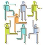 Iconos direccionales de la gente de la flecha Foto de archivo