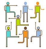 Iconos direccionales de la gente de la flecha Fotos de archivo