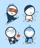 Iconos divertidos de la gente del invierno stock de ilustración