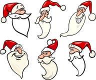 Iconos divertidos de las caras de la historieta de Papá Noel fijados Fotografía de archivo libre de regalías