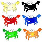 Iconos divertidos de los cangrejos Foto de archivo libre de regalías
