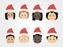 Iconos divertidos de los niños de la Navidad Fotografía de archivo libre de regalías