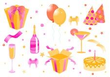 Iconos divertidos del cumpleaños Imagen de archivo libre de regalías